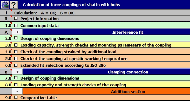 Force Couplings of Shafts with Hubs