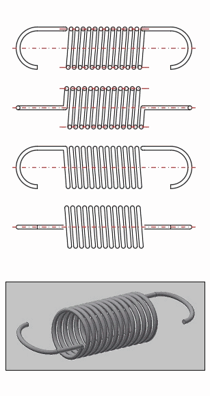 Helical Tension Cylindrical Ssprings - 2D and 3D model